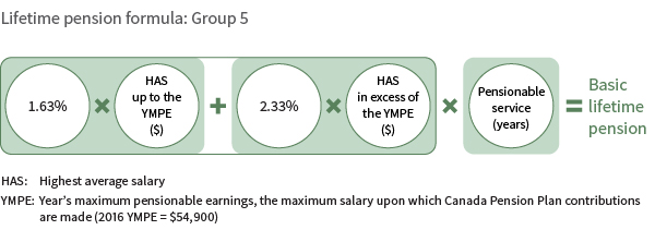 Lifetime pension formula: Group 5